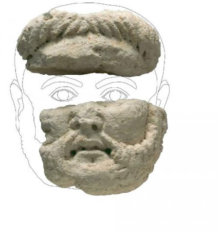 Portrait d'homme barbu en calcaire
