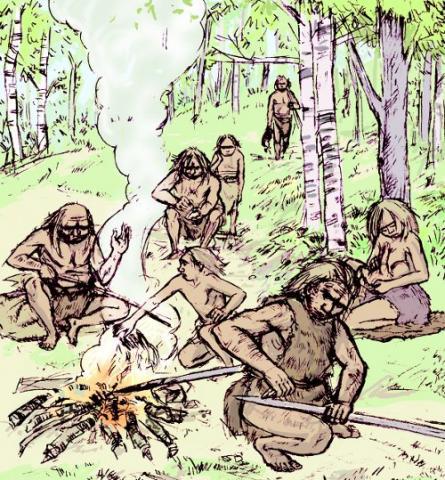 Néandertaliens autour d'un foyer