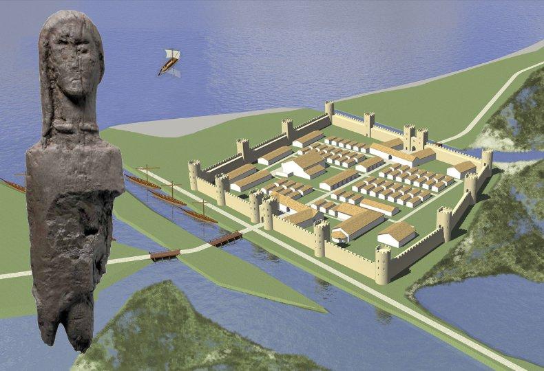 Statue celtique et Castrum romain